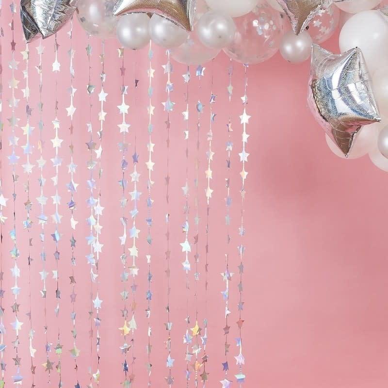 iridescent foil star hanging backdrop curtain decoration stargazer