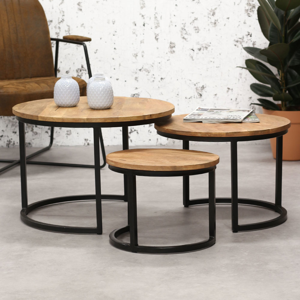 industrial coffee table cambridge set of 3 solid wood