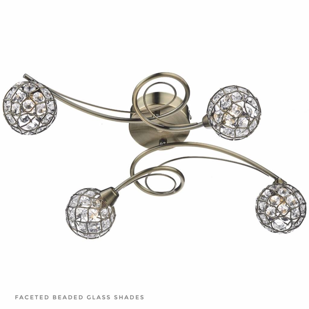 Beaded Ball Semi Flush Ceiling Light Antique Brass Lightbox