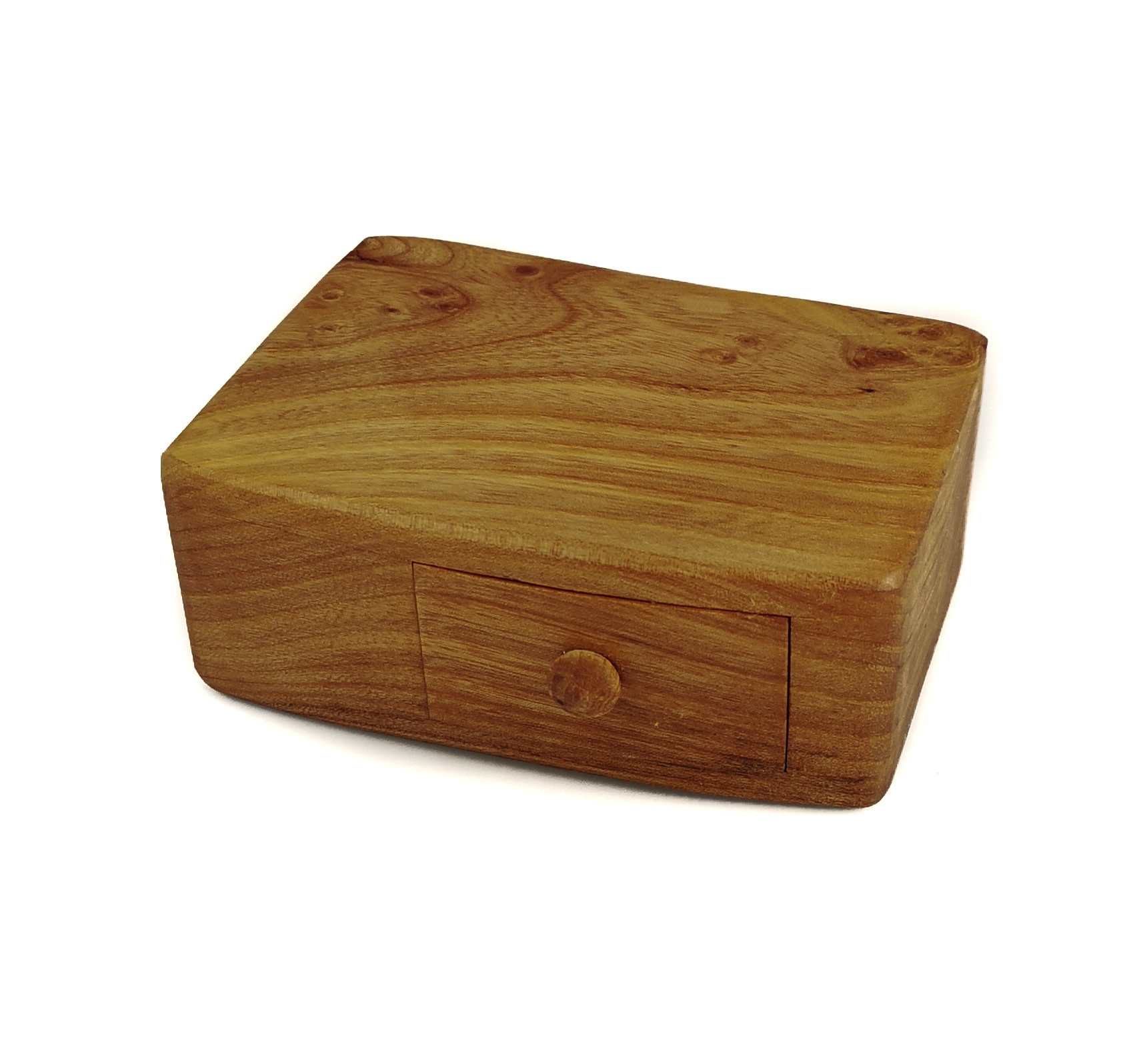 02 Box Yew Tree Wood Box Single Drawer With Secret Drawer 02 - Wood And Horn - Boxes - Water Street Gallery
