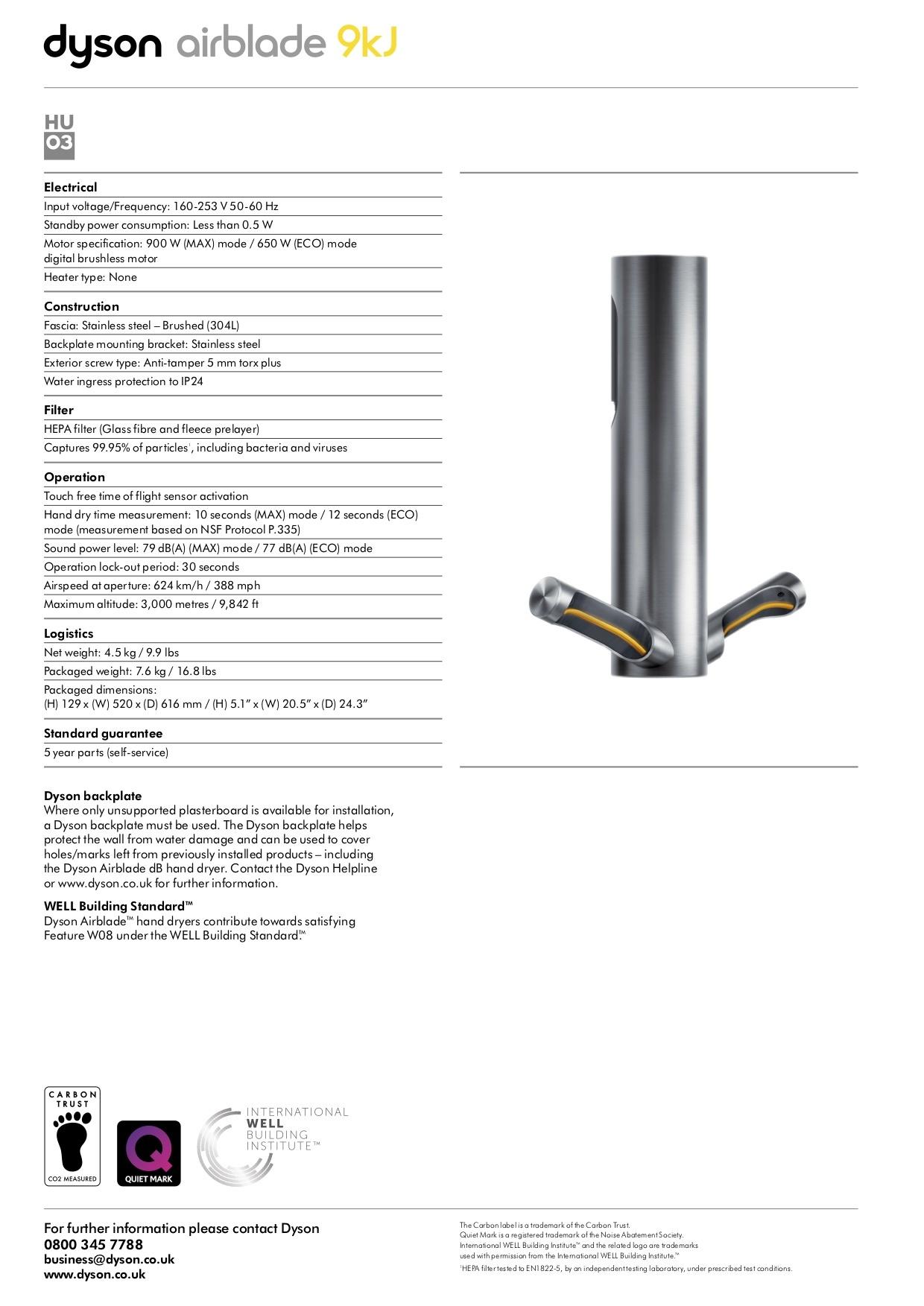 Dyson Airblade 9kj Hand Dryer