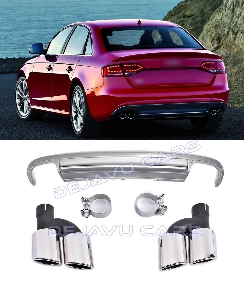 s4 look diffuser exhaust tail pipes for audi a4 b8