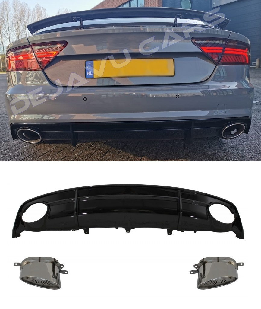 rs7 look diffuser exhaust tail pipes for audi a7 4g s line s7
