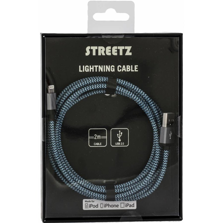 hight resolution of streetz fabric coated usb apple lightning cable orange blue or purple 6