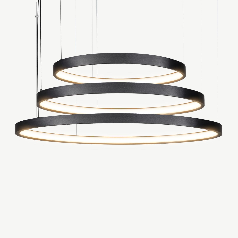 led 3 ring pendant lamp halo o920 mm black