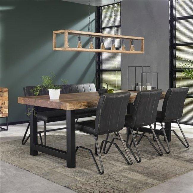 eva table salle a manger 200 x 100 cm industriel tronc d arbre