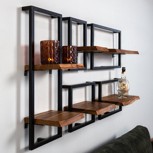 dimehouse june etagere murale industrielle set de 5