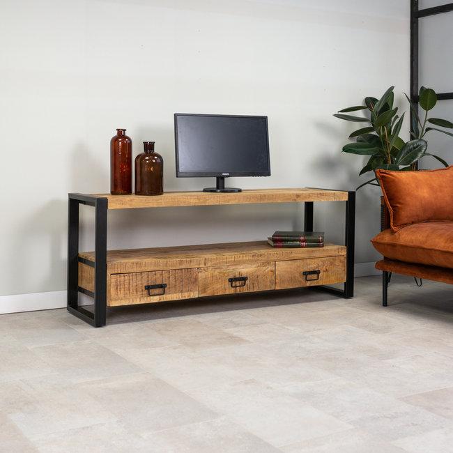 dimehouse domburg meuble tv industriel bois massif 150 x 60 cm