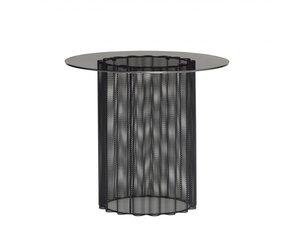 metal glass side table black