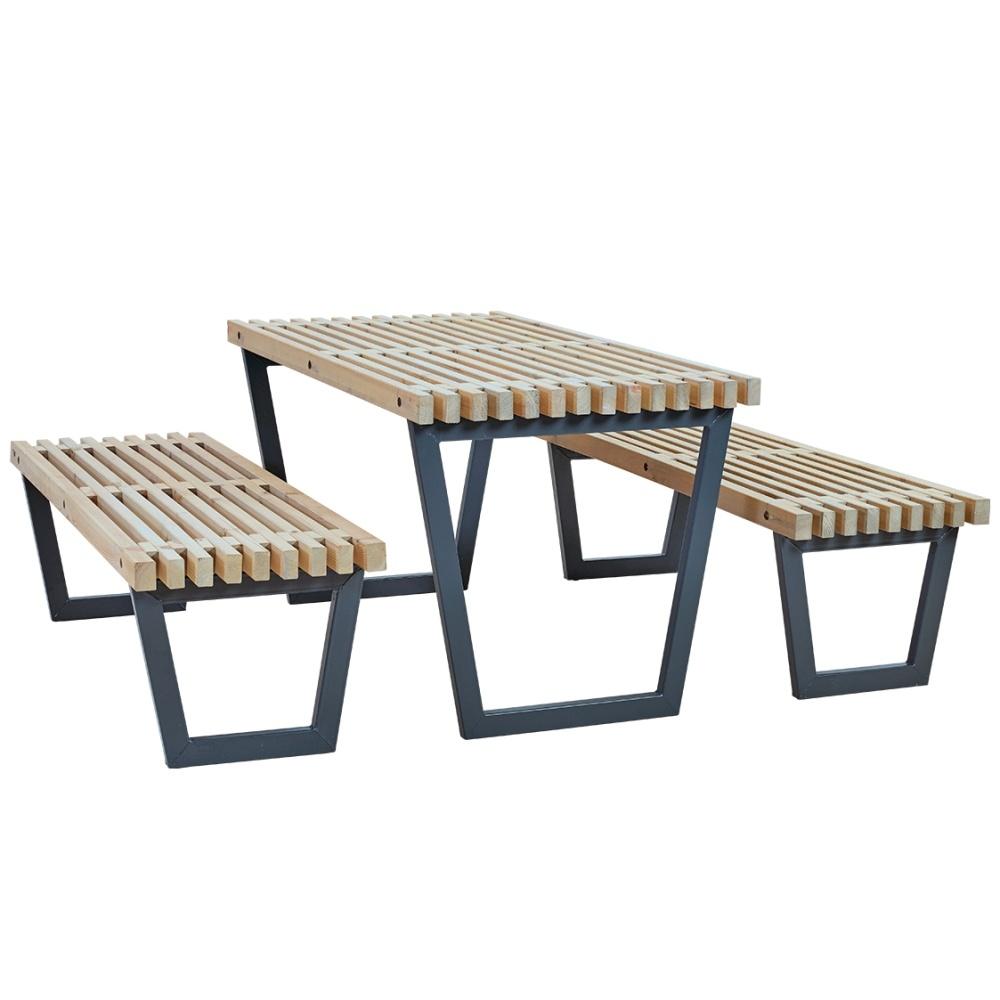 siesta ensemble table et 2 bancs de jardin lasure bois flotte