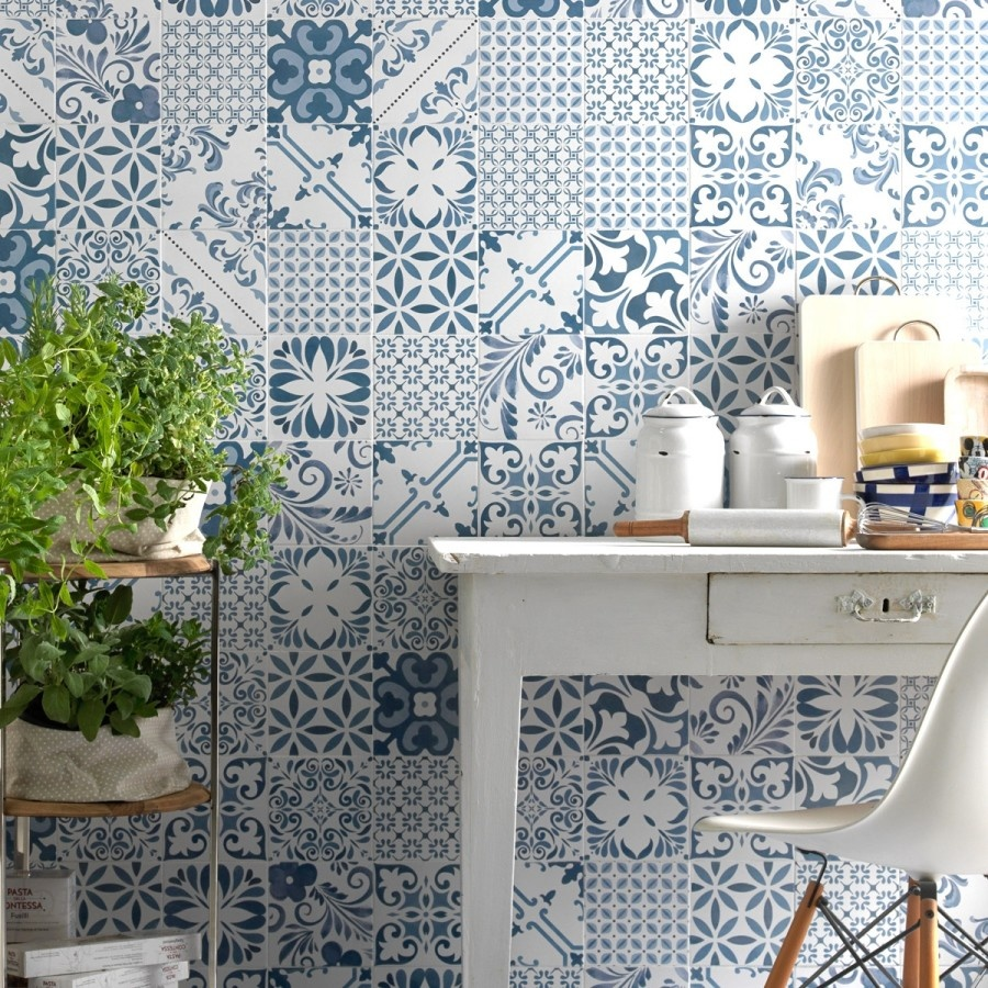 luxury tiles vintage pattern mix blue azul wall and floor tile 150 x 150mm