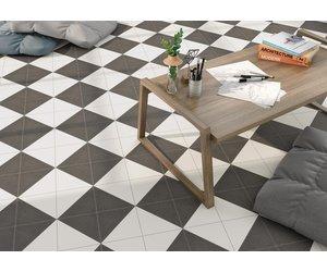 luxury tiles aspen black and white triangle porcelain 200x200 tile
