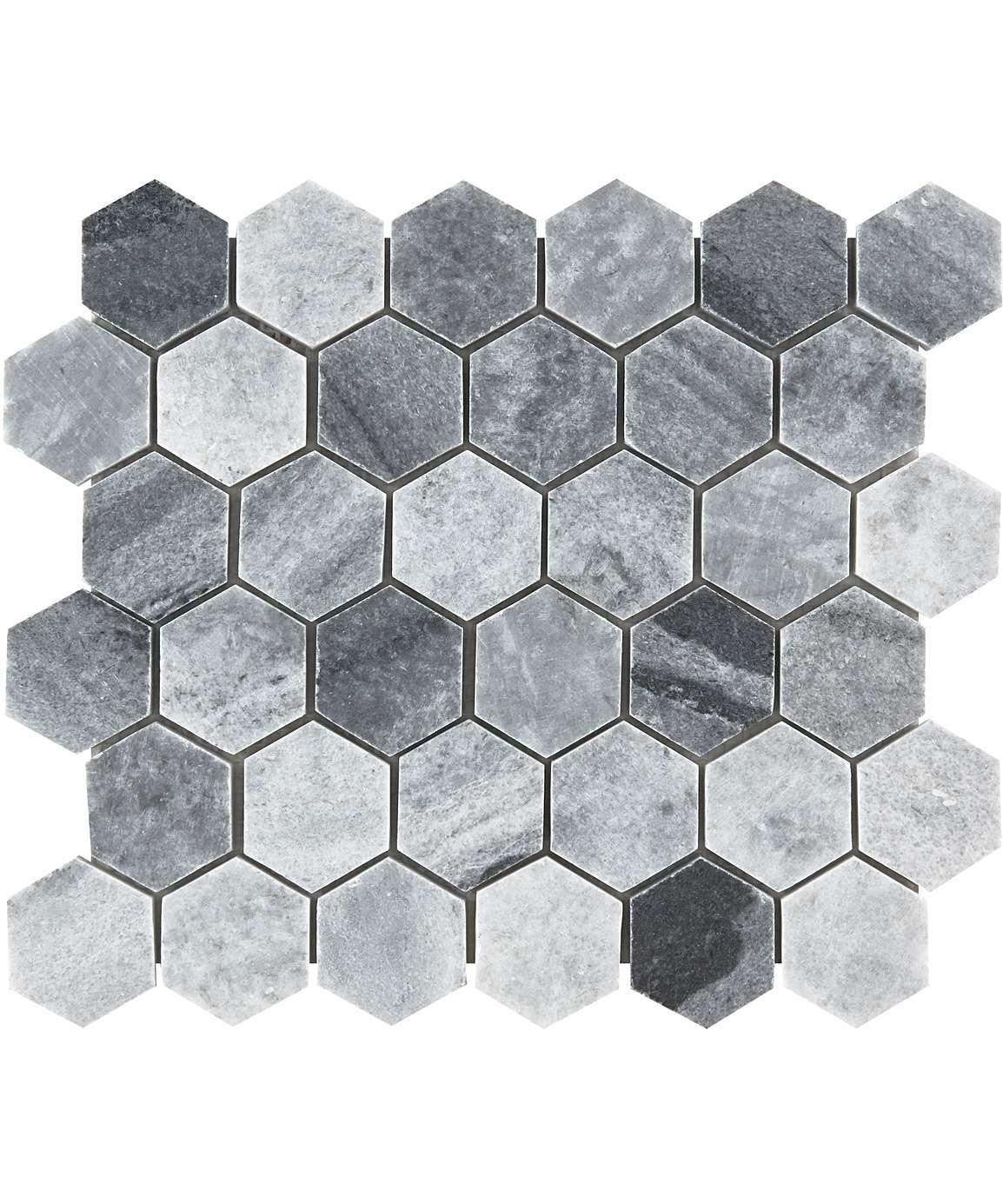luxury tiles baltic grey polished marble hexagon mosaic wall and floor tile