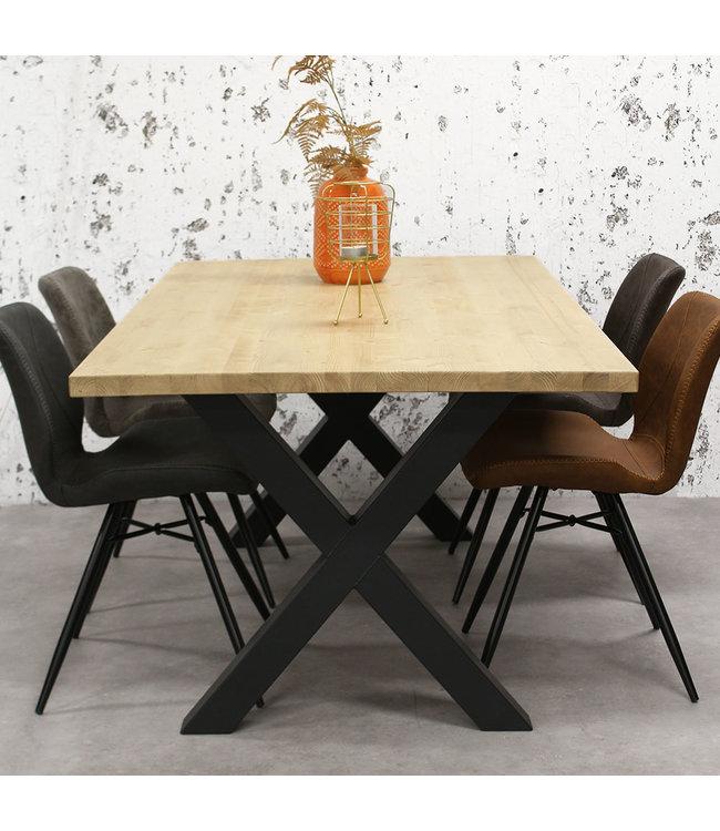 table salle a manger bois massif pieds x 140x80 cm daan