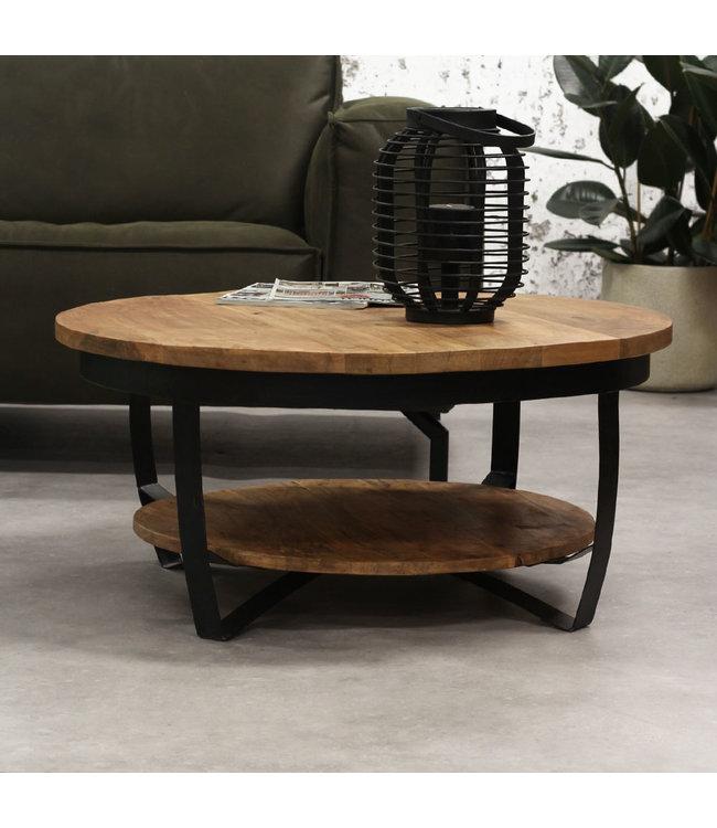 table basse ronde bois manguier massif industriel baldo