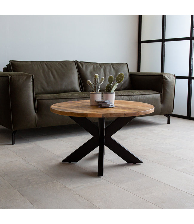 table basse bois massif industriel 80 cm yara
