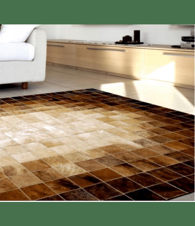 patchwork cowhide rug mosaik brown
