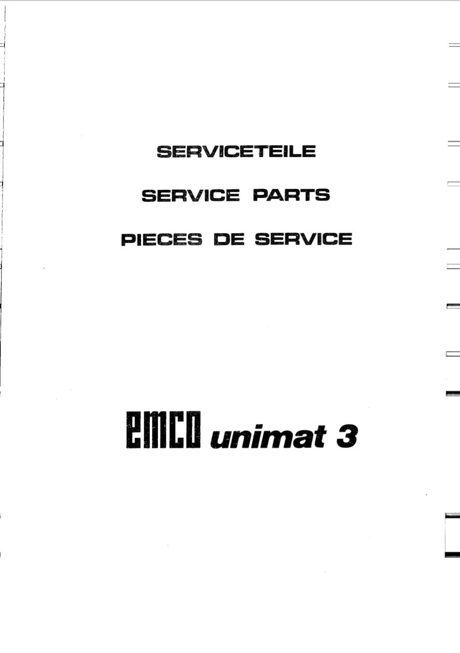 Emco Unimat 3 Lathe Manual and Drawings package (EN, DE