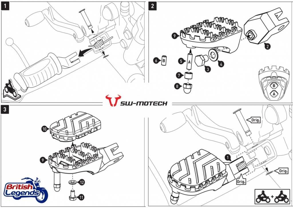 SW-Motech Footrests for Triumph Bonneville/Scrambler