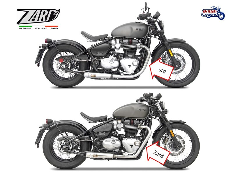 Zard Exhaust System for Triumph Bobber and Bobber Black