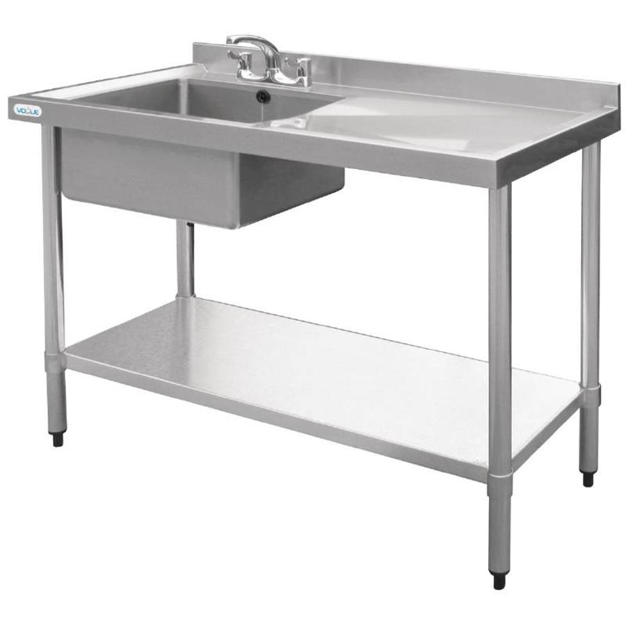 vogue stainless steel sink table sink left 100x60x90 cm