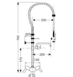 low pre rinse shower monobloc jib crane [ 900 x 900 Pixel ]