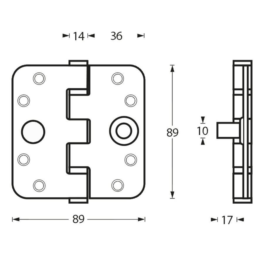 medium resolution of stainless steel ball bearing hinge 89x89x3mm with round corners and built in thieves claw