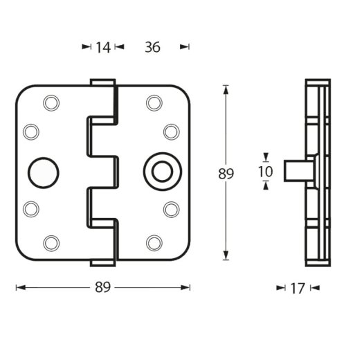 small resolution of stainless steel ball bearing hinge 89x89x3mm with round corners and built in thieves claw