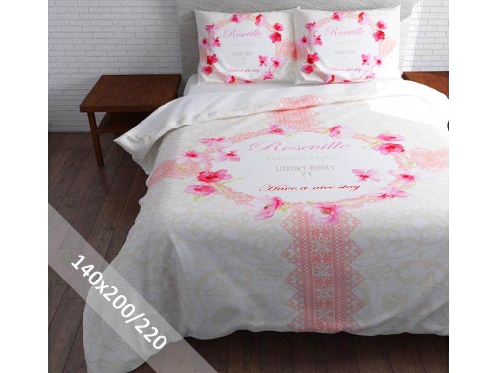Dekbedovertrek Sleeptime Garden Hotel Wit Roze 140x200220