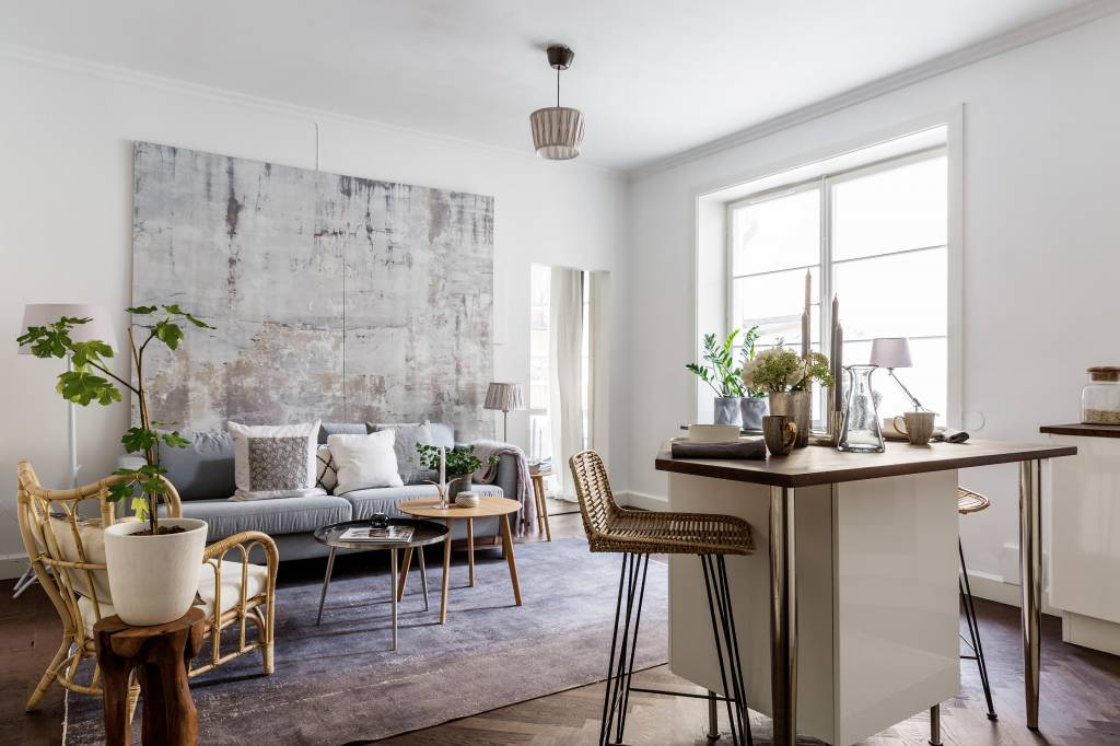 The Bamboo Relax Chair The Rattan Barstools And Raw Wooden Stool Bring This Scandinavian Design Living Space In Beautiful Harmony Petite Lily Interiors