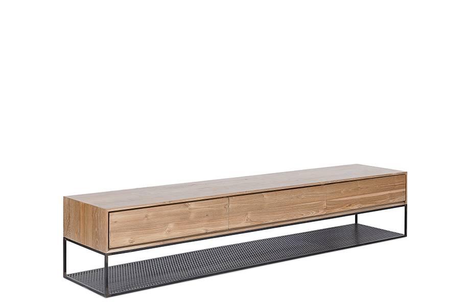 dareels meuble onetwo tv 200 teck naturel y metal noir 200x40xh40cm dareels
