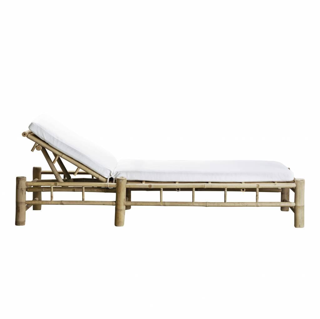 bain de soleil de jardin bambou avec coussin en blanc 210x80xh36cm tinekhome