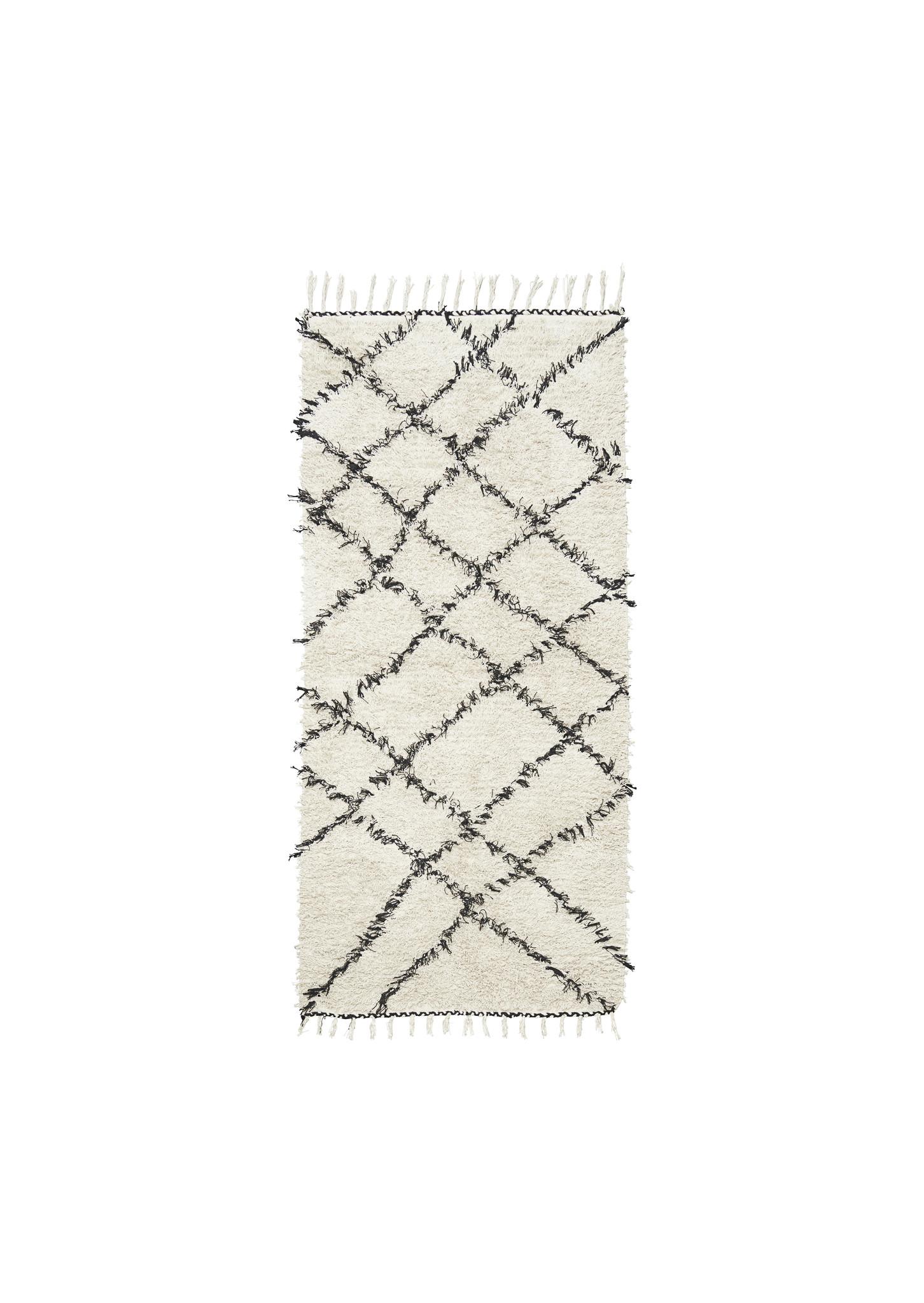tapis scandinave ethnique ribas ivoire gris 90x200cm house doctor
