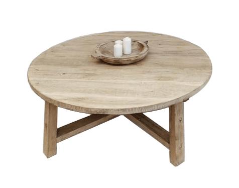 table basse bois brut rond 105xh30cm unique piece