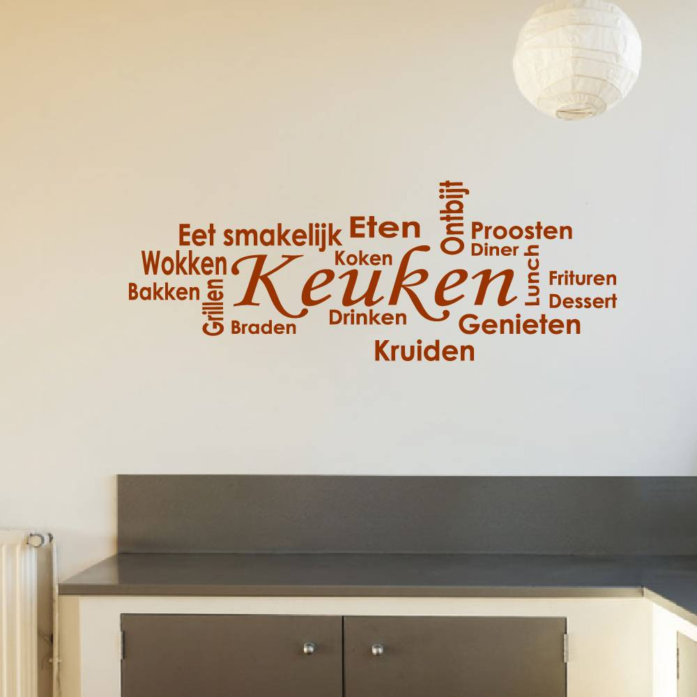 Keuken muurstickers leverbaar in diverse kleuren