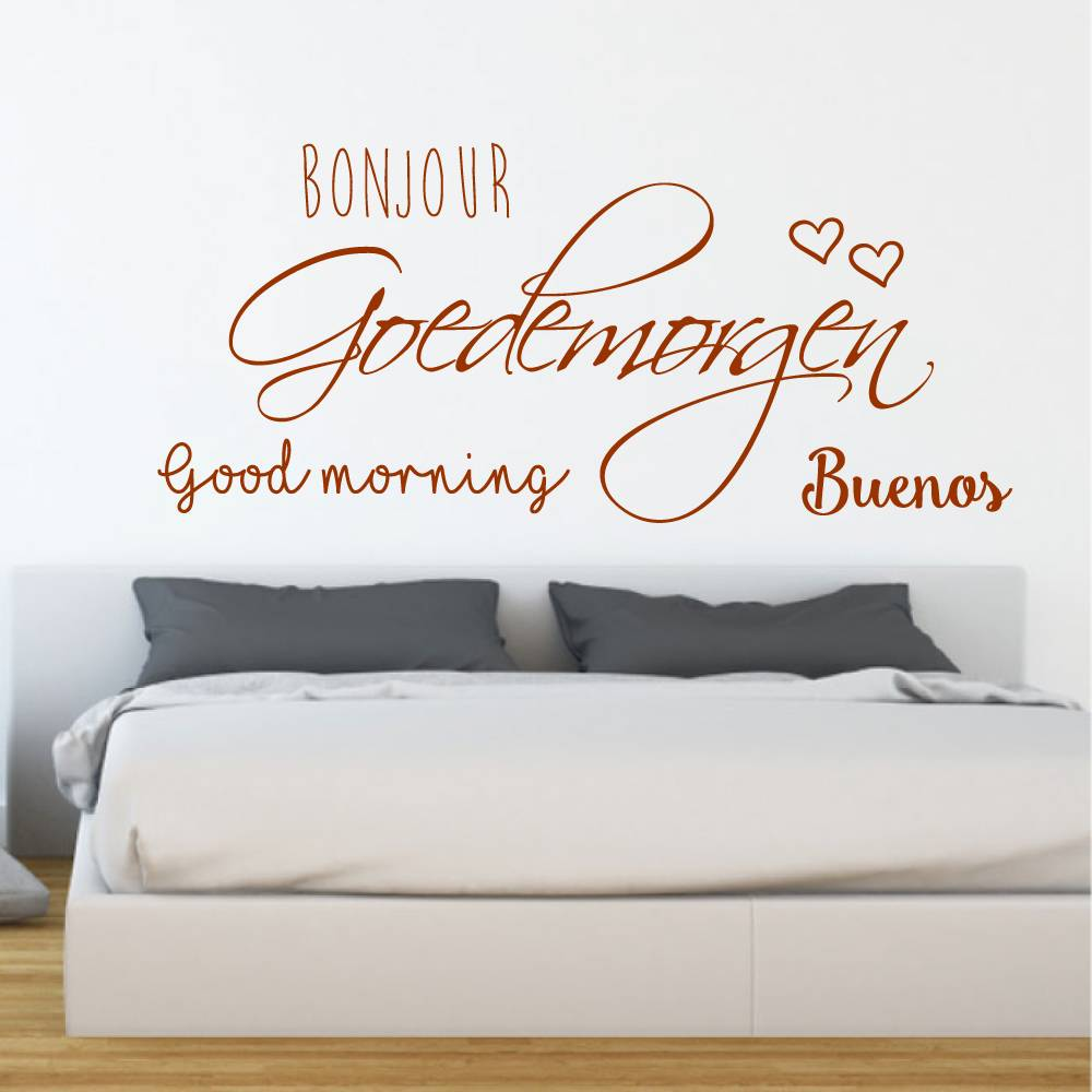 Slaapkamer muursticker Bonjour Goedemorgen Good morning