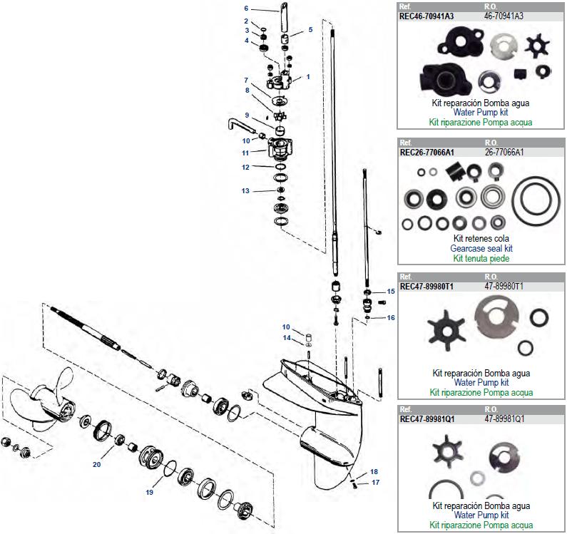Mercury 3,9/4,5/6/7,5/9,8 110 staart parts Groot aanbod