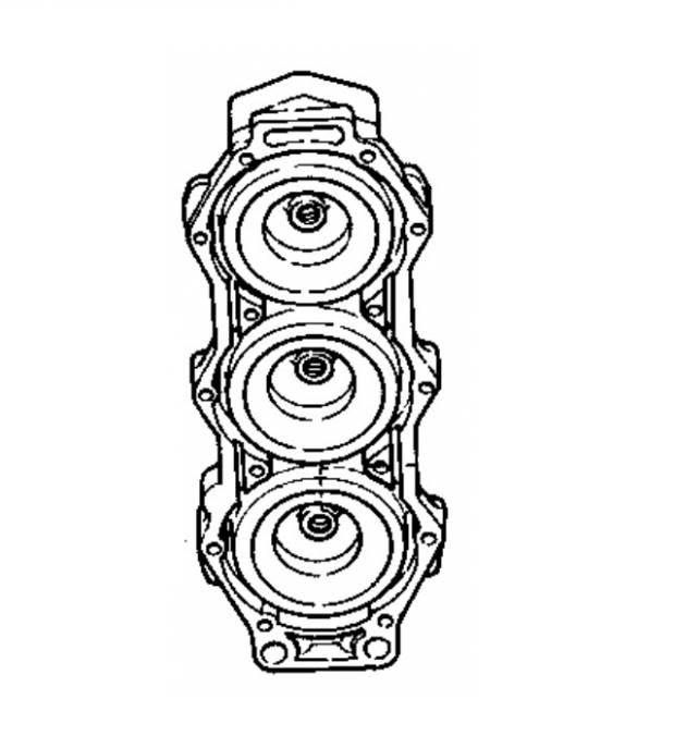 (1) Cylinder head Yamaha 150/175/200 hp 2-stroke (64E