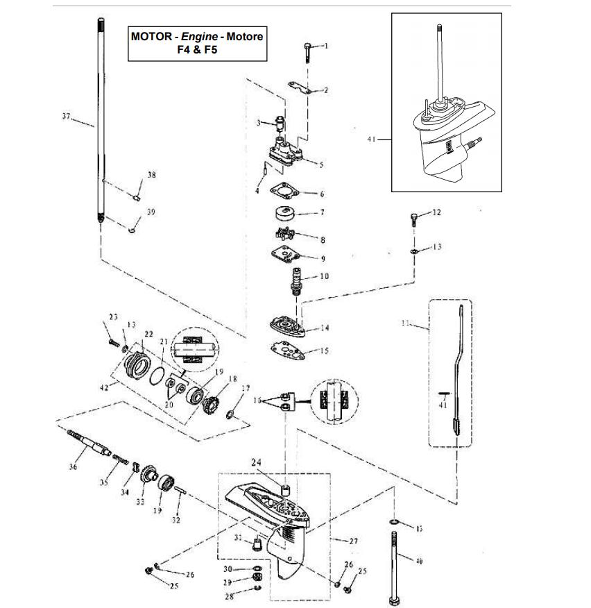Parsun 4/5 pk lower drive assy parts het voordeligst bij