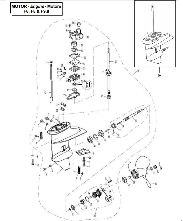 Parsun lower casing & drive parts eenvoudig bestellen bij