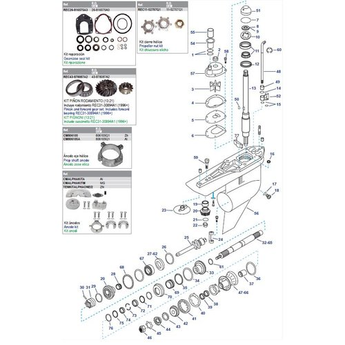Mercruiser transom-Sterndrive & staartstuk onderdelen