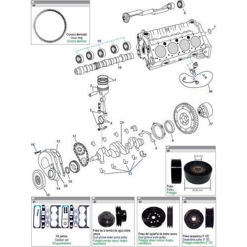 Onderdelen General Motor GM 262 CID, V6, 4,3L bestel