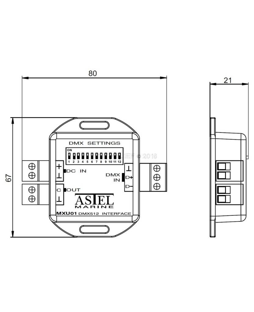 DMX512 Interface MXU01 lighting control system by using