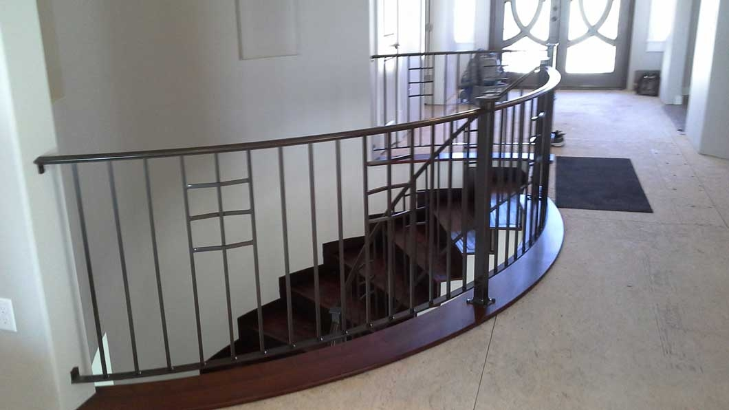 Indoor Outdoor Stair Rails Billings Mt Artistic Iron | Metal Handrails For Outdoor Steps | Outside | Hand | Backyard | Wood | Contemporary