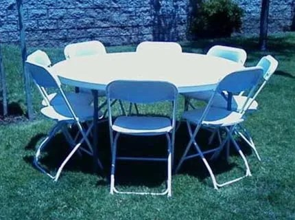 table and chair rentals pvc pipe lounge party tables huntington beach ca surf city bouncers 60 inch round chairs bounce house slide in