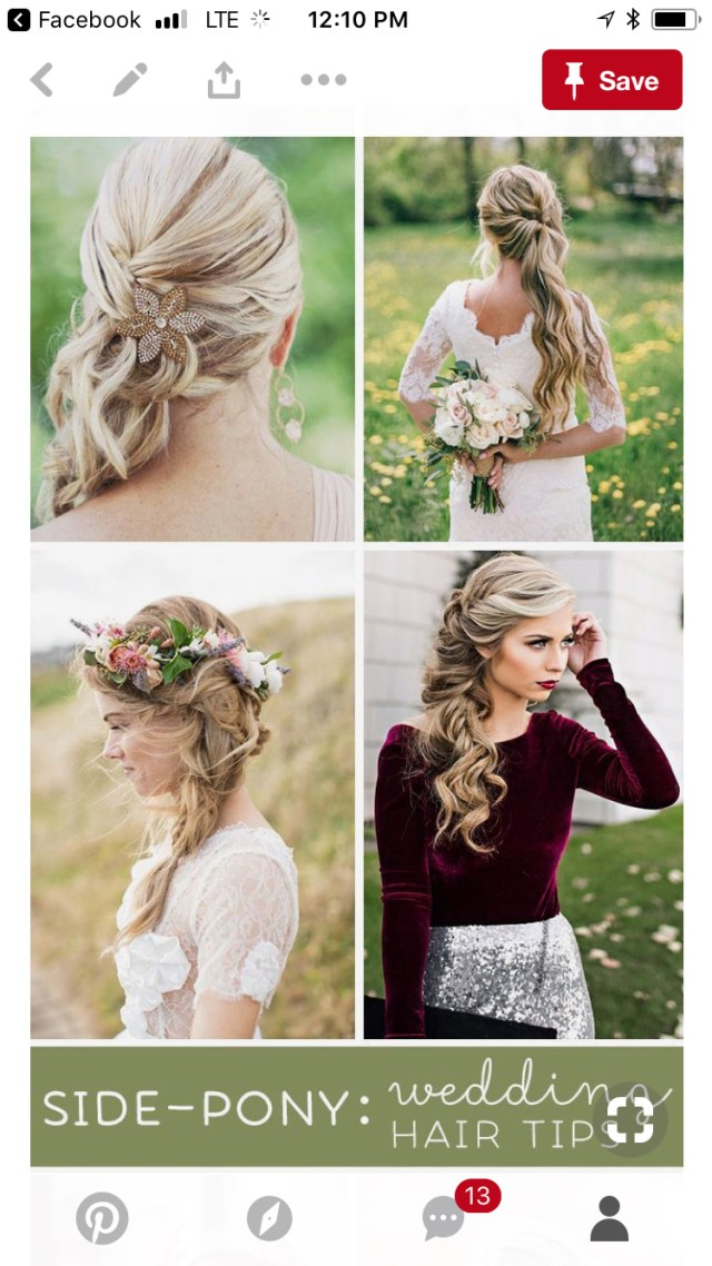 show me your side-swept hair with a veil!