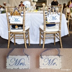 Mr And Mrs Chair Signs Kohls Anti Gravity Rustic Navy White Wooden 15