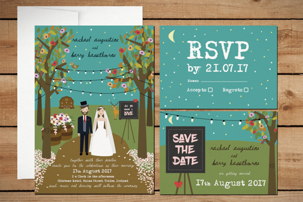 Pretty Personalised Wedding Invitations