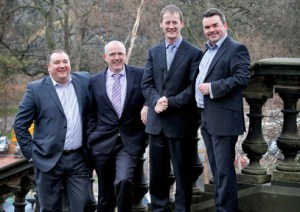 From left to right:  Rocela Group commercial director Kenneth Wilson, Version 1 director Jarlath Dooley, Version 1 CEO Justin Keatinge and Rocela Group CEO Martin Mutch
