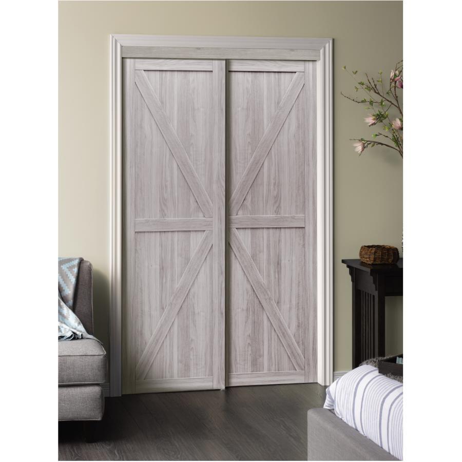 80 silver oak trident sliding door
